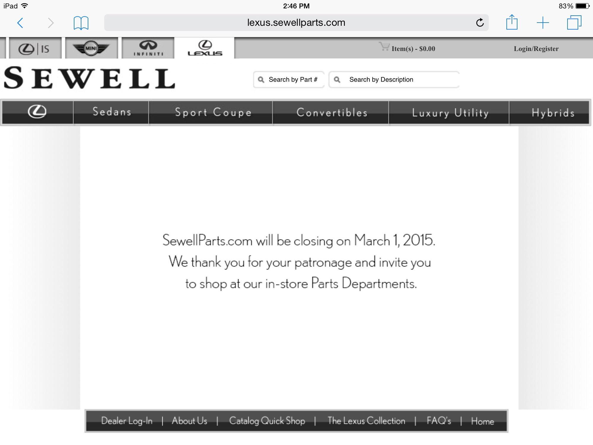 Sewellparts Is Closing ClubLexus Lexus Forum Discussion