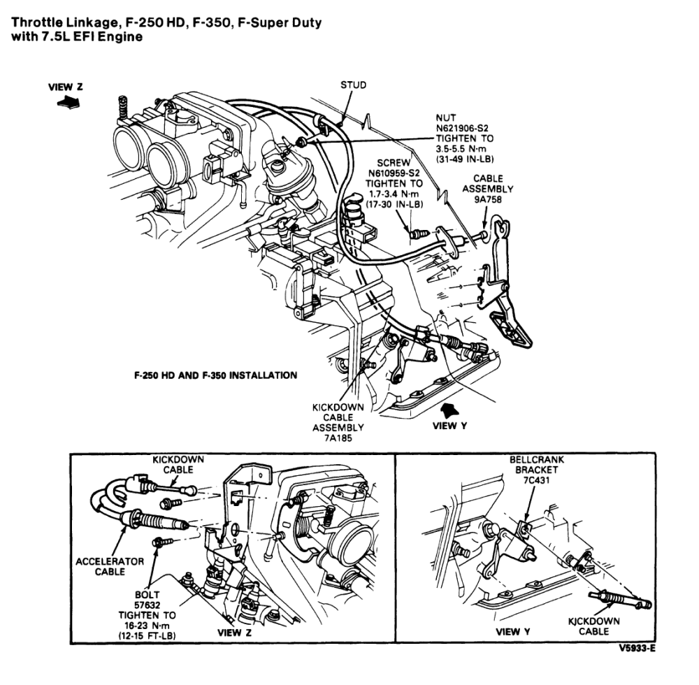 medium resolution of  cable from a c6 transmission the aod and other trans are different i include a diagram from the ford service manual showing the linkage for the 7 5