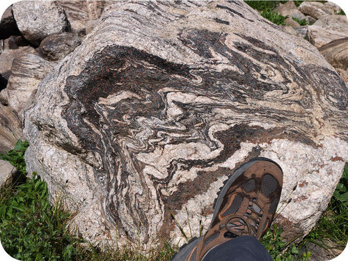 A foliated metamorphic rock