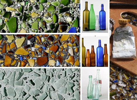 recycled glass tile countertop surface