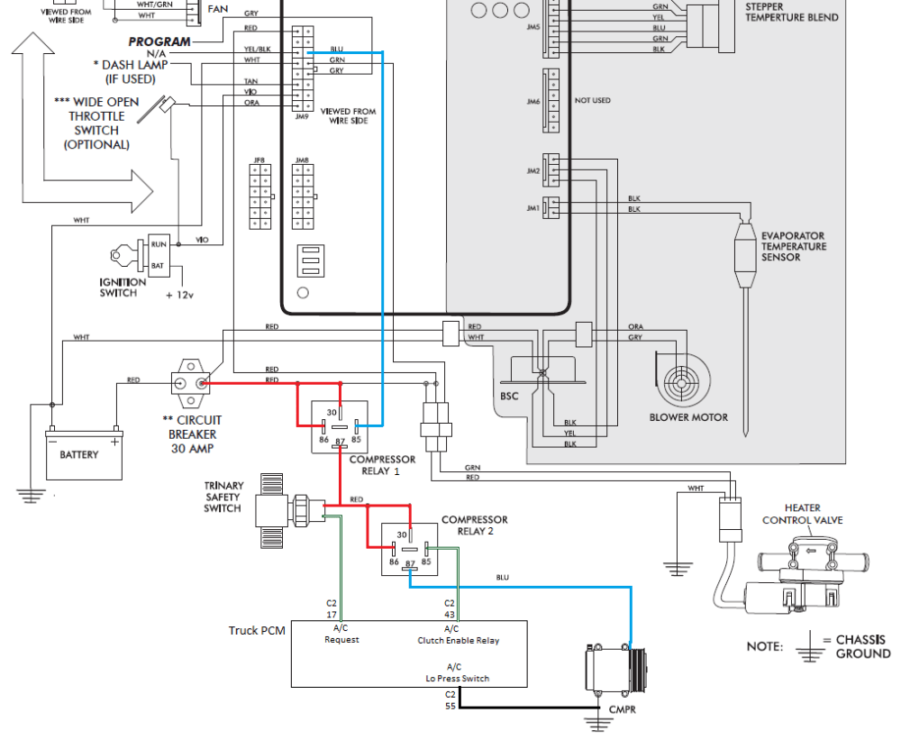 medium resolution of c2 pin 55 would be connected directly to ground bypassing the low pressure switch protection since this protection is already provided by the trinary