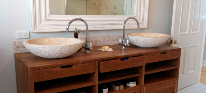 How to Refinish Bathroom Vanity Cabinets  DoItYourselfcom