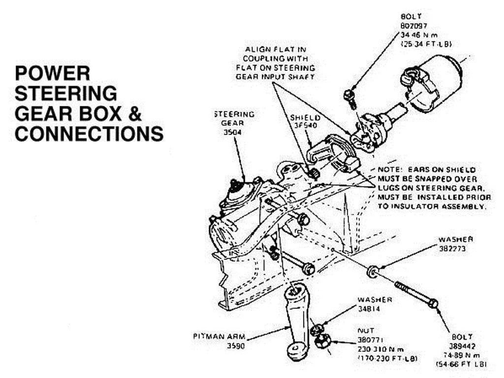hight resolution of power steering gear box and connections