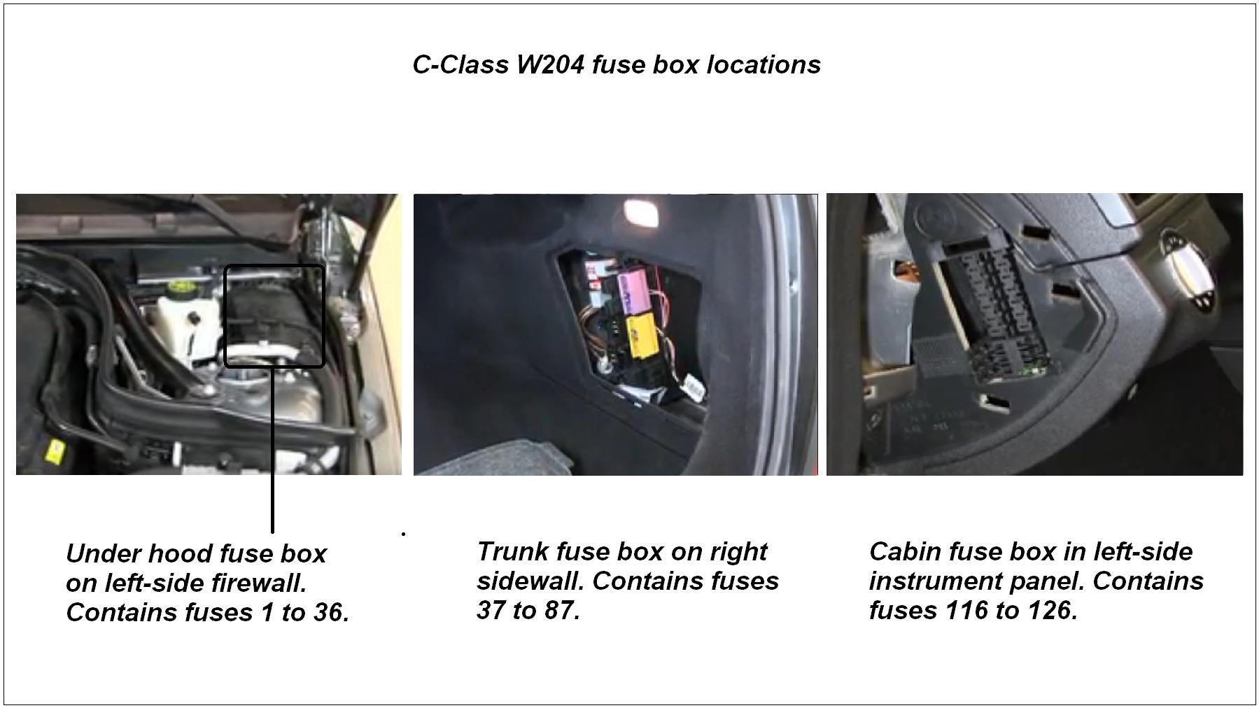 hight resolution of location of w204 fuse boxes