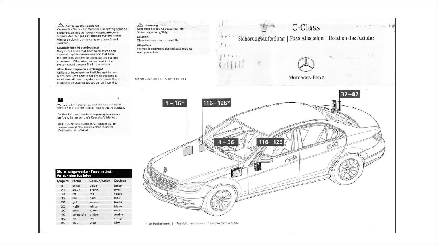 hight resolution of mercedes benz c class w204 fuse diagrams and commonly blown fusesw204 fuse allocation chart page