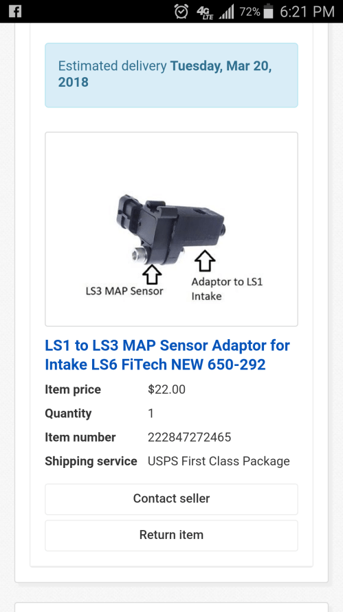 small resolution of  an ls1 to ls3 adaptor block for map sensor now i don t have to ream out the hole for the bigger ls3 9 map sensor it will just piggyback off of stock