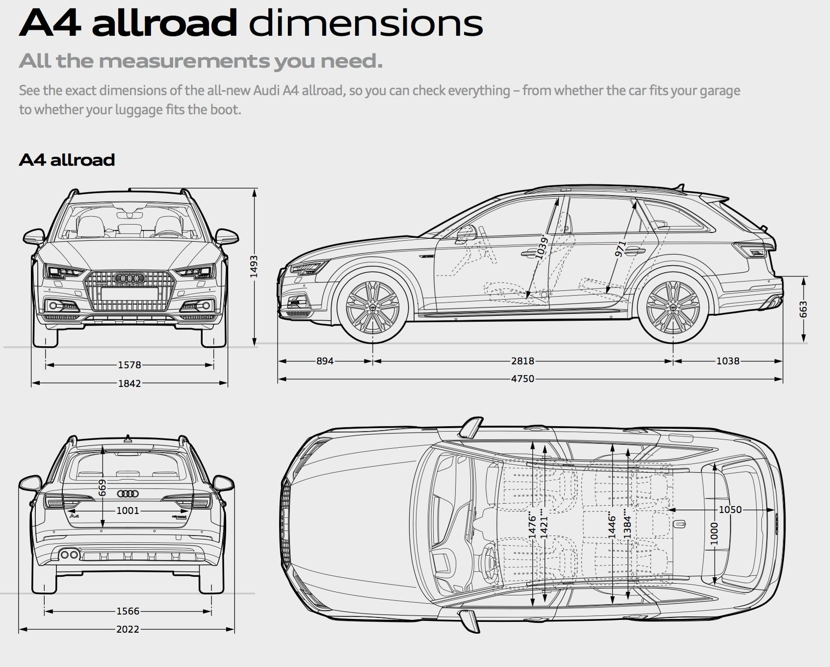 Audi A4 Wagon Dimensions