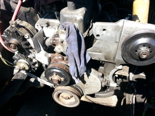 small resolution of the major issue is that the alternator is sitting back about 1in too far