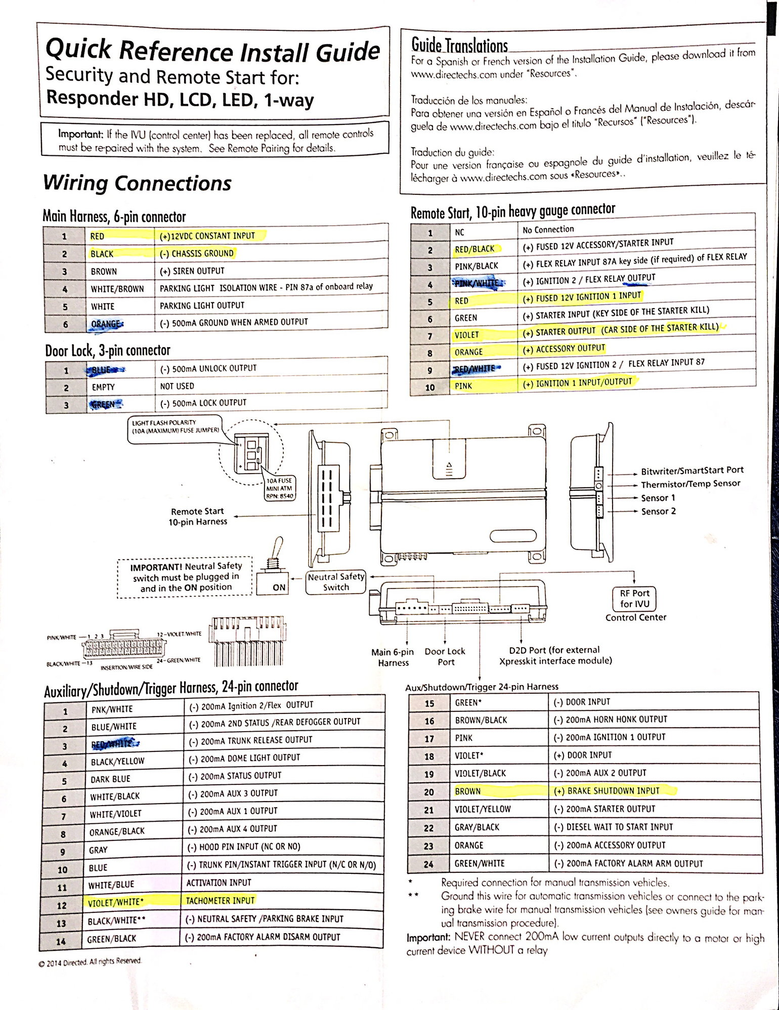 hight resolution of here are the wiring diagrams what s highlighted yellow is what i know i need please let me know if there are others i m not installing the alarm at the