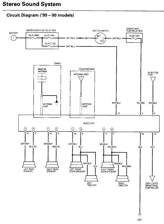 2000 Honda Civic Radio Wiring Diagram : honda, civic, radio, wiring, diagram, 99-00, Civic, Radio, Wiring, Diagram, Honda-Tech, Honda, Forum, Discussion