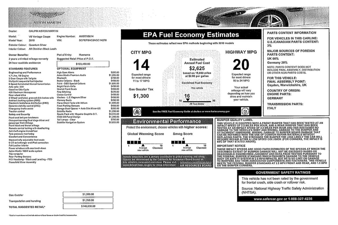 FS: 2010 Aston Martin V8 Vantage in Quantum Silver