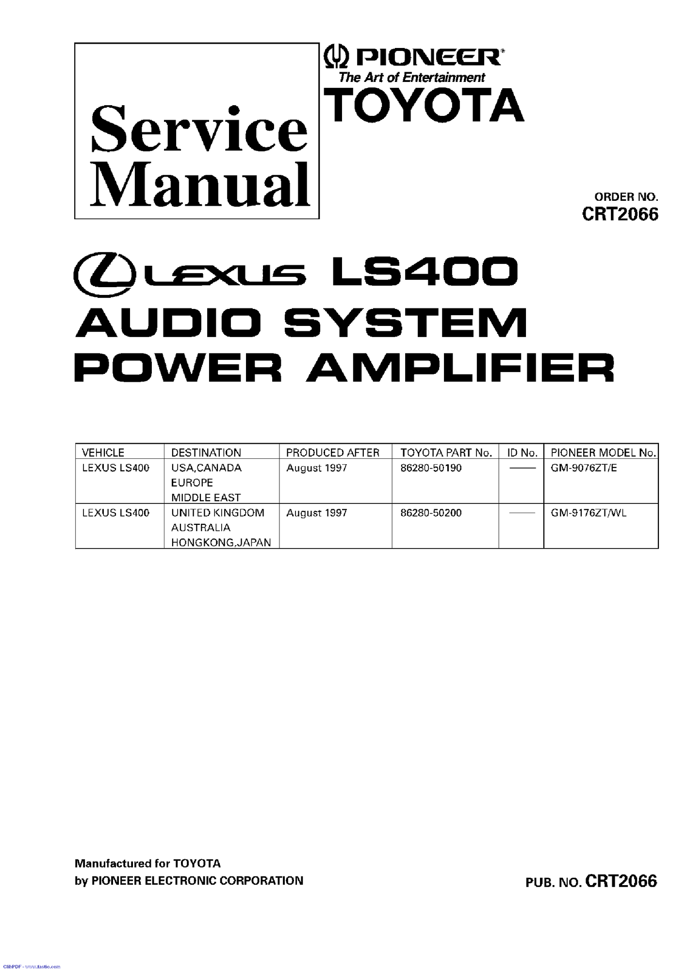 Anyone With Pioneer Radio Service Manuals