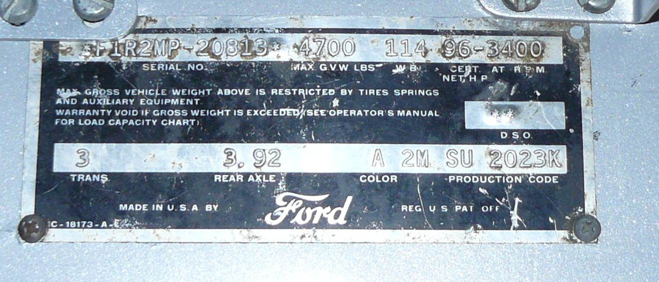 1949 Ford Truck Vin Number Location