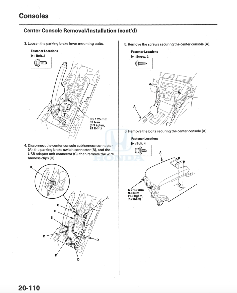 Service manual [2011 Acura Tl Gear Shift Console Removal