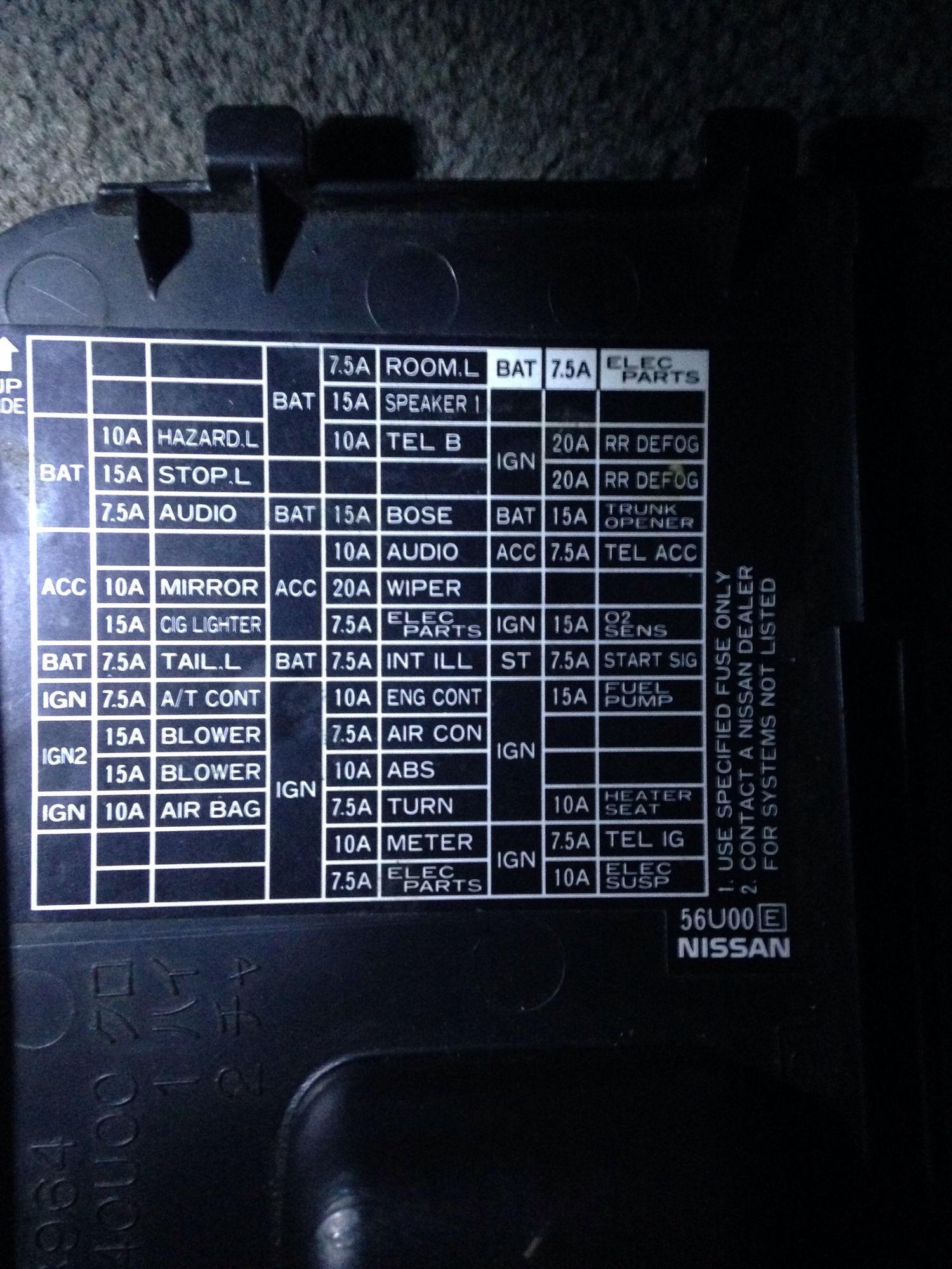 97 Infiniti I30 Fuse Box Diagram