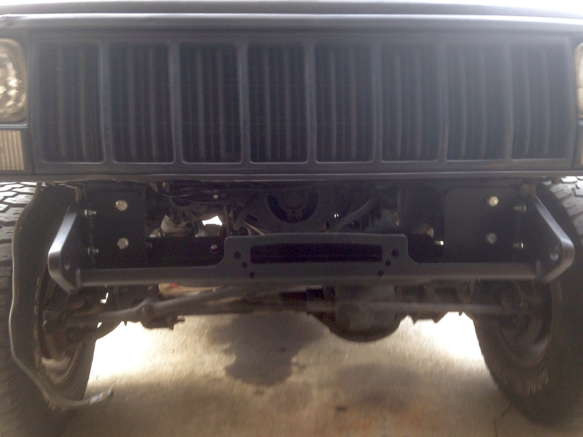 hight resolution of i had to cutout most of the front cross member to fit the winch under the grill radiator used a cut down harbor freight winch moun as a base and welded