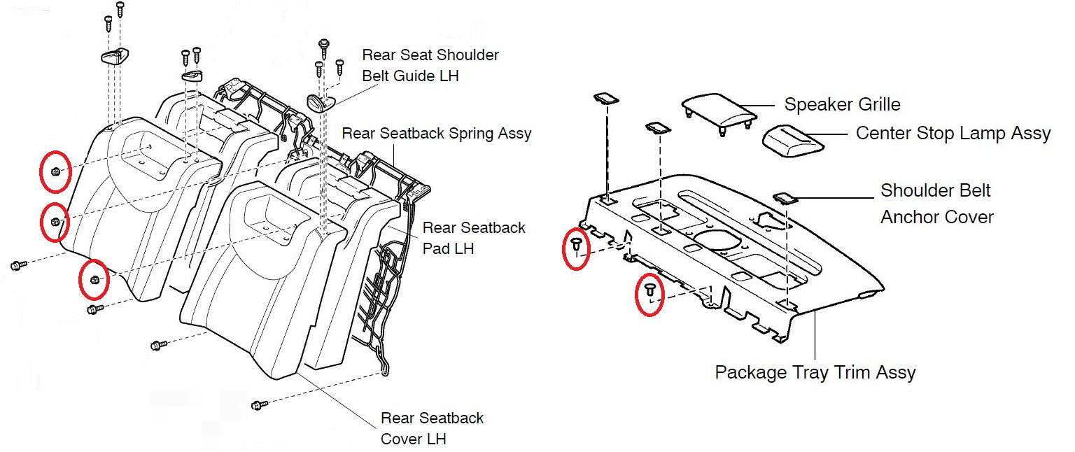 hight resolution of pull the seat back forward to create enough space to reach down and remove the 2 black plastic fasteners that hold the rear deck panel down
