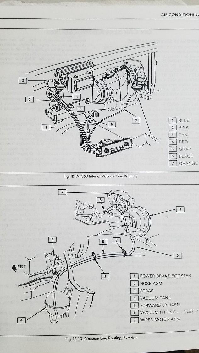 1984 Hvac vacuum hose location From manifold through