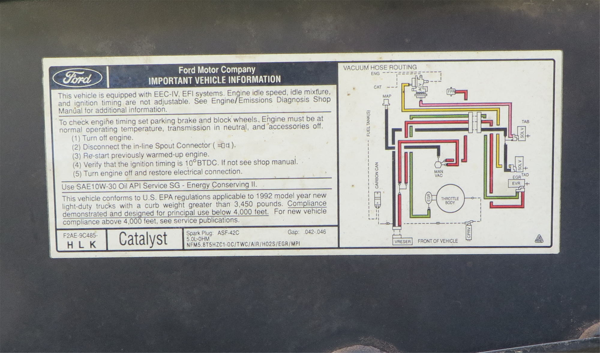 hight resolution of 1992 bronco 5 0l efi e4od vacuum diagram from underhood decal
