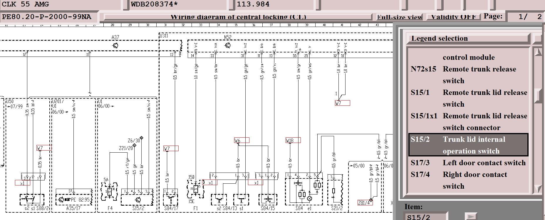 2000 Mercedes S430 Fuse Chart Diagram