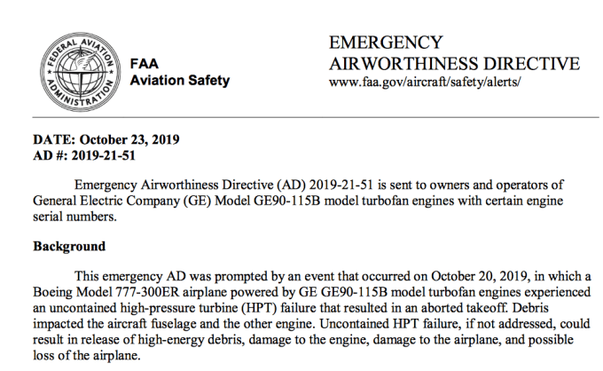 Faa Emergency Airworthiness Directive Apply To Ac S 777 300er Ge90 115b Engines Flyertalk Forums
