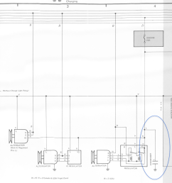 i don t see any blue wire documented on on 1984 and later but i see one on 1983 schematic it goes to the condenser it s those little black blocks that  [ 1069 x 794 Pixel ]