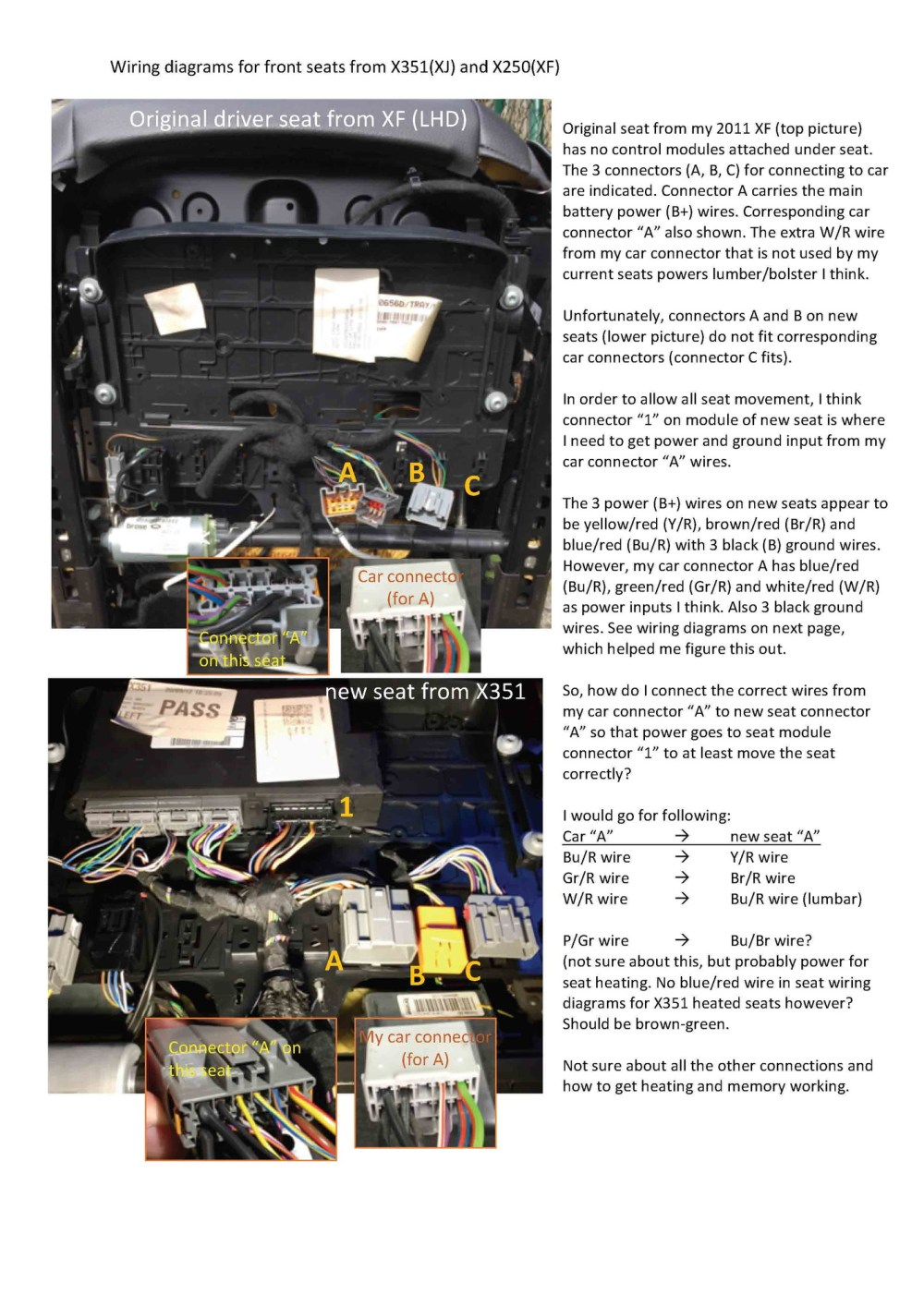medium resolution of front seat upgrade wiring problems need advice jaguar forums diagram for stype front seats jaguar forums jaguar enthusiasts