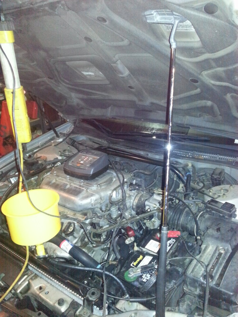 medium resolution of yes that is a golf club hood struts are a luxury at this point i should ve pulled the hood but i never expexted to put this much work in for a radiator