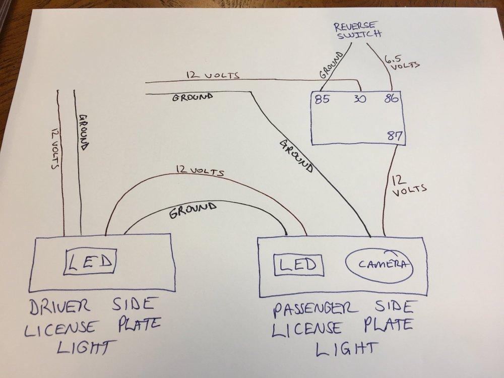 medium resolution of wiring relay for backup camera from license plate light rennlist camera 12 volt wiring diagram