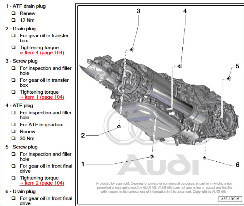 ATF Transmission Drain Fill Plug Locations on 2013 A5 B8