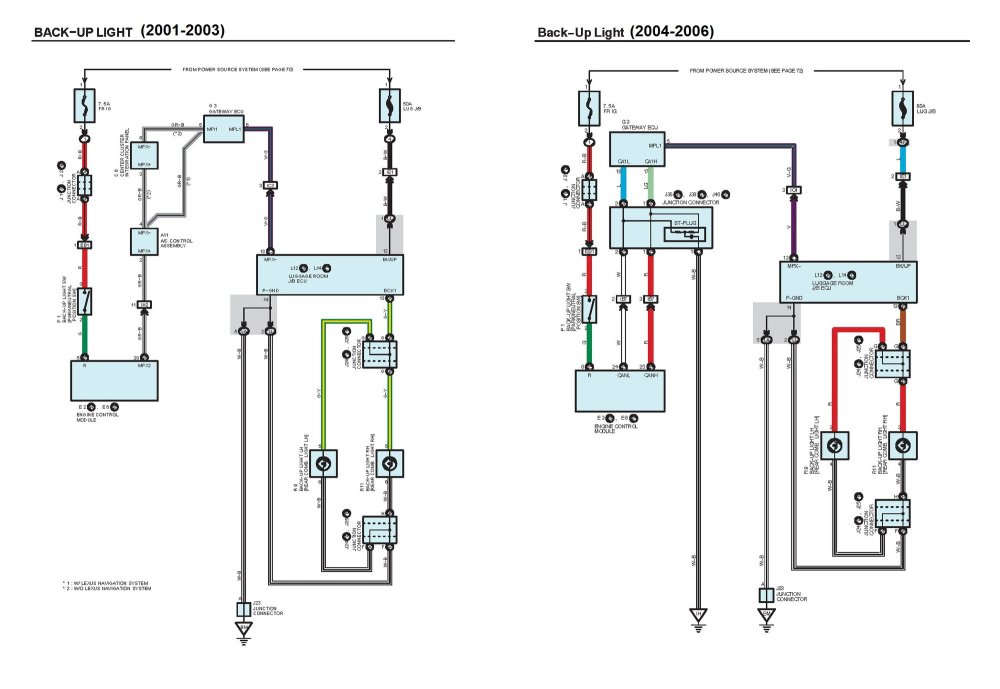medium resolution of please beware that the wire colors for the backup lights on the 2001 2003 and 2004 2006 are different see electrical schematic