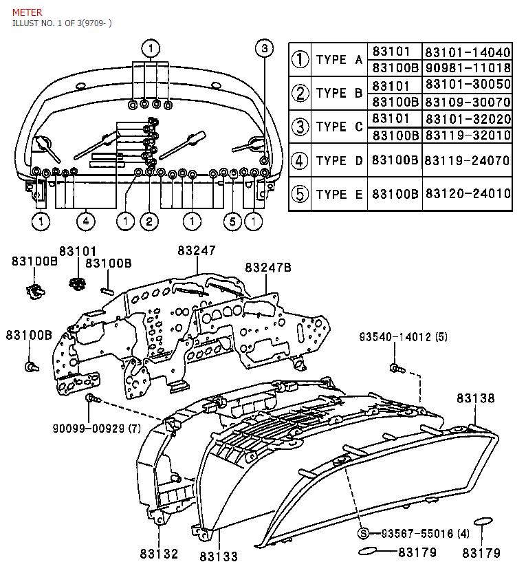 93 Lexus SC300 Correct Gauge Cluster bulbs & Factory part