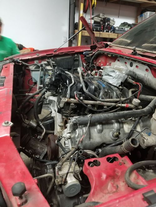 small resolution of  heater tube wiring harness exhaust manifolds studs and valve covers tilt it almost vertically and drag it across the core support but it s in