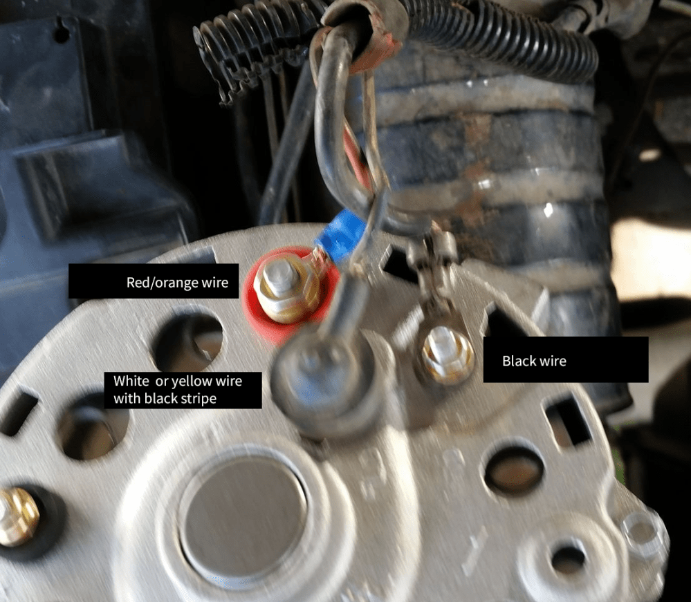 medium resolution of here is a labelled picture of how the new alternator is currently wired incorrectly