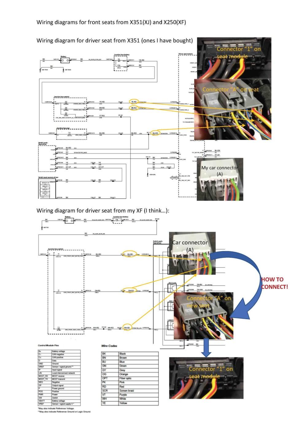 medium resolution of jaguar xf seat wiring diagram front seat upgrade wiring problems need advice jaguar