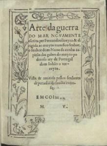 """Frontispiece of the original """"Arte da Guerra do Mar"""" (1555), by Fernando de Oliveira."""