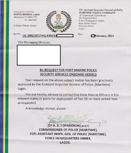 "Example of a ""permit"" issued to a PMSC for embarking Nigerian Maritime Police by the Lagos Police Commissioner (Maritime) without authority of the Lagos state Inspector General of the Police. (Source withheld)"