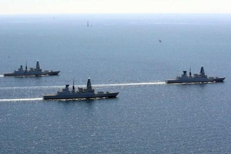 (L-R) HMS Duncan, HMS Dauntless and HMS Dragon