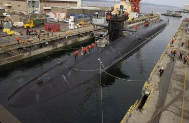 One of the 'Top 5': Ohio-class submarine USS Michigan (SSBN 727) prepares to dry dock, 2002.