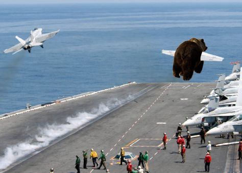 The first B3AR5 catapault launch w/ F-18 flight lead off the USS LEEROY JENKINS (BVN-1)