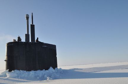 Crewmembers of the Los Angeles-class submarine USS Annapolis (SSN 760) man the bridge watch after breaking through the ice during Ice Exercise (ICEX 2009) in the Arctic Ocean.