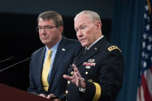 Secretary of Defense Ash Carter and Chairman of the Joint Chiefs of Staff General Martin E. Dempsey introduce the 2015 National Military Strategy, DoD photo.