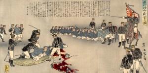 """Illustration of the Decapitation of Violent Chinese Soldiers"" by Utagawa Kokunimasa, Public Domain."