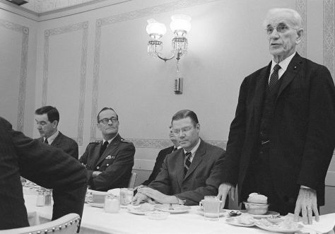 Speaker of the House John W. McCormack (D-Massachusettes) (standing), addresses those attending a luncheon at the US Capitol honoring top Department of Defense executives. Left to right are Congressman George H. Mahon (D-Texas), committee chairman of the US House of Representatives Appropriations Committee; General (GEN) Earle G. Wheeler, Chairman, US Army Joint Chiefs of Staff; Secretary of Defense Robert S. McNamara and Congressman McCormack.