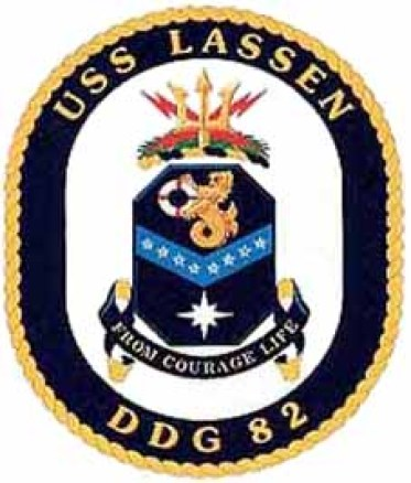 """Coat of arms of USS Lassen (DDG 82), which has conducted FONOPS in the South China Sea. Experts have criticized their ambiguity and are still debating their exact nature."""