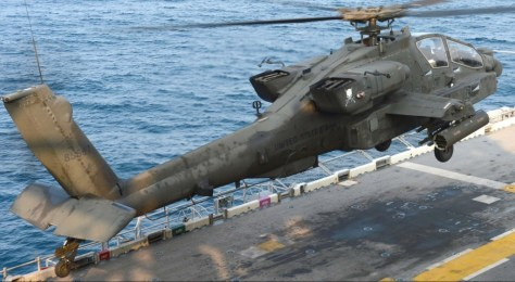 Apache operating on USS Bonhomme Richard. U.S. Navy photo.