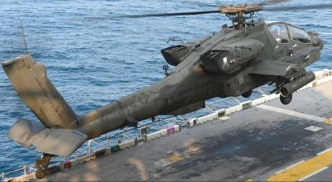 Apache operating on USS Bonhomme Richard. U.S. Navy photo.
