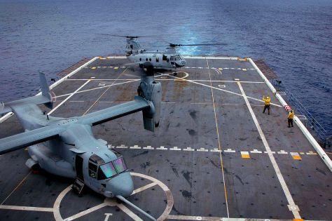 Flight deck loaded with V-22 Ospreys, defenselink.mil photo.