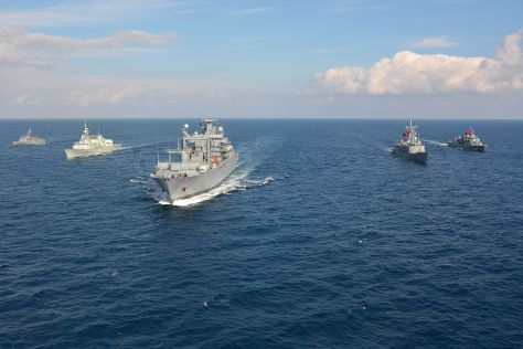 Standing NATO Maritime Group 2, seen here steaming in formation, is currently tasked with operating on the Aegan Sea refugee route.
