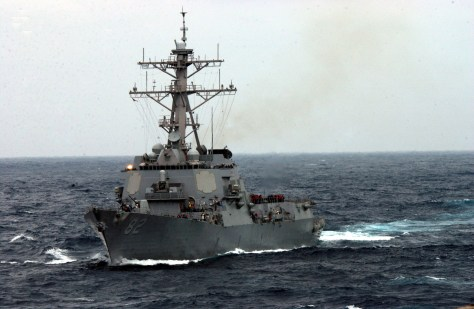 030328-N-7265L-025 East China Sea (Mar. 28, 2003) - The guided missile destroyer USS Lassen (DDG 82) sails through the rough seas. Lassen is part of the USS Carl Vinson Battle Group that just recently completed participating in the joint exercise FOAL EAGLE and is continuing a scheduled deployment in the western Pacific Ocean. U.S. Navy Photo by Photographer's Mate 2nd Class Inez Lawson. (RELEASED)